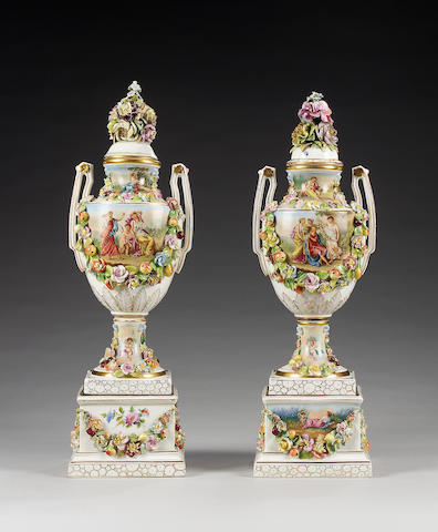 A pair of Potschappel Carl Thieme vases, covers and stands, circa 1890
