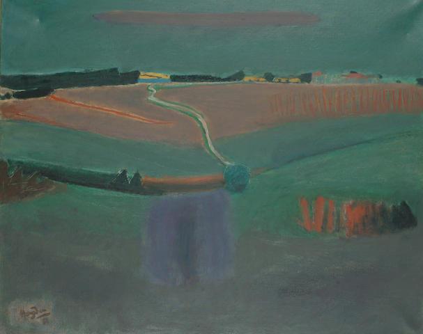 Henri Hayden (French, 1883-1970) Landscape under green skies. 60 x 73cm (23 1/2 x 28 3/4in)
