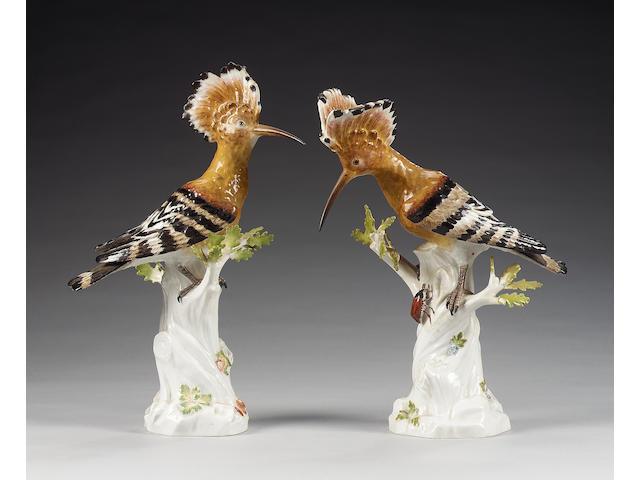 A pair of Meissen models of Hoopoe, 20th century,