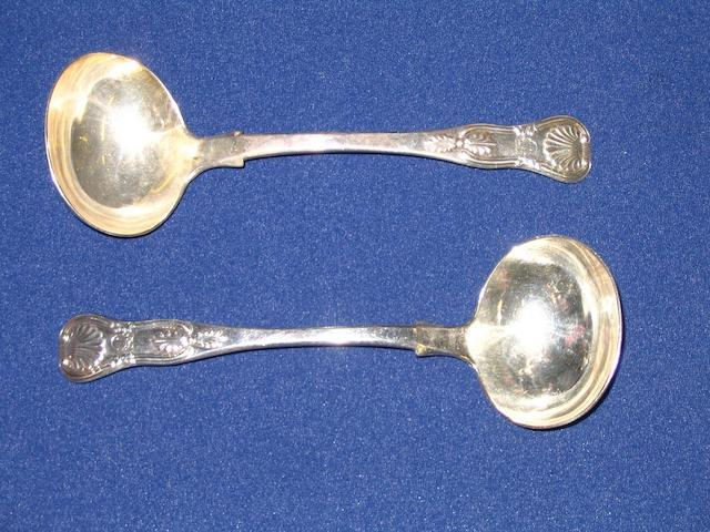 A pair of Victorian Scottish silver sauce ladles by J.Mackay,Edinburgh 1848,