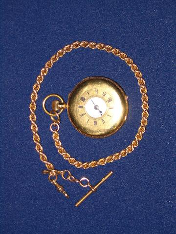 An 18 carat gold cased half hunter pocket watch
