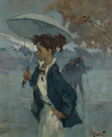 Pierre Grisot (French, b.1911) Portrait of a young lady with an umbrella. 46 x 38cm (18 x 15in)