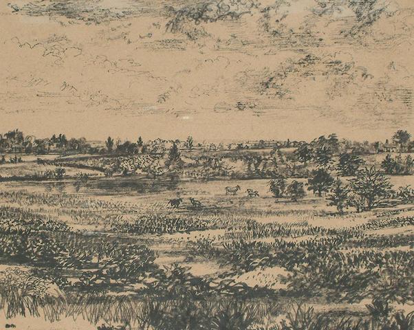Richard Eurich (British, 1903-1992) Landscape with horses.