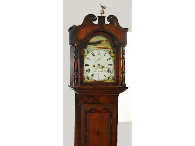 An early/mid-19th century oak and mahogany longcase clock,