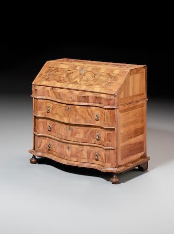 An 18th century South German walnut and banded Bureau