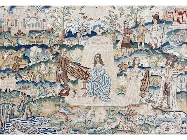 An early 17th Century petit point embroidered panel depicting the story of Joseph and Potiphar's wife