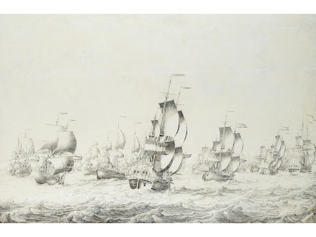 Adriaen van Salm, marine, oil on canvas