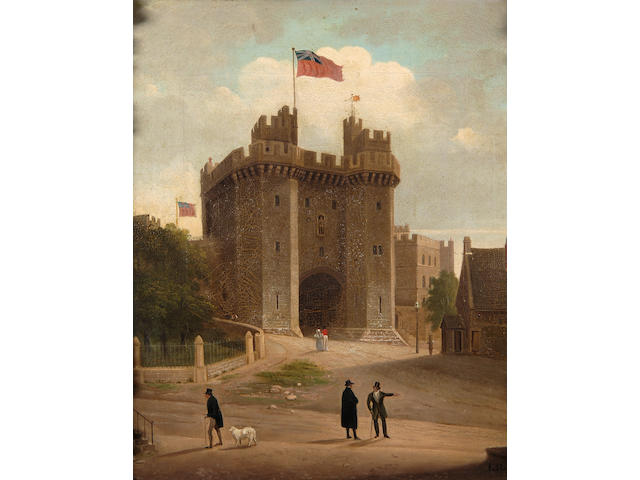 I. Rothwell (mid 19th Century) The Dean of Windsor in conversation in front of the Castle 42.5 x 37cm (16½ x 14½in).