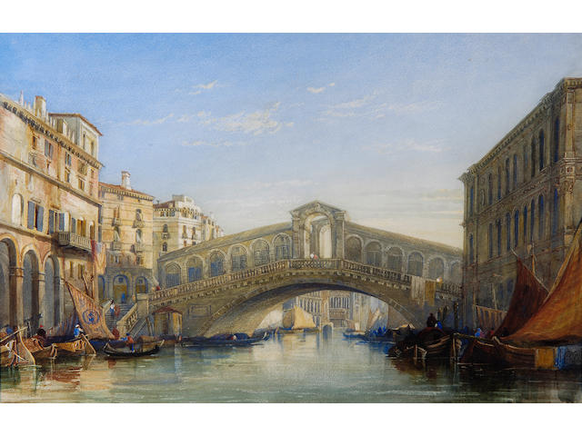 William James Muller (1812-1845) The Rialto Bridge, Venice 30cm x 46cm (12 x 19in).