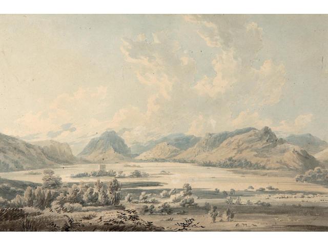Edward Dayes (1763-1804) Derwentwater 22 x 33cm (8½ x 13in).