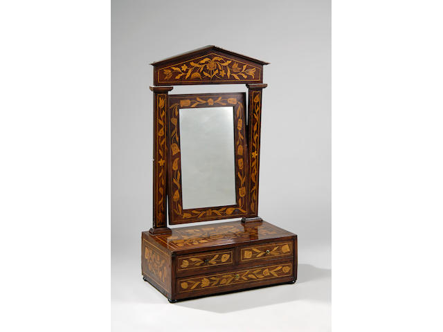 An early 19th Century Dutch mahogany and floral marquetry swing frame toilet mirror,