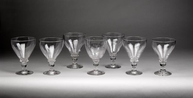 A set of six glass rummers