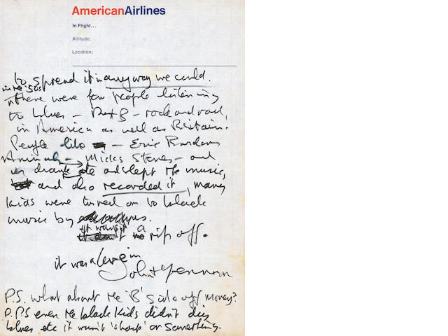 John Lennon: an important letter, written in response to an article about the Beatles in 'The New York Times'