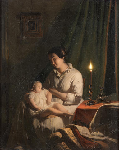 Johannes Rosierse (Dutch 1818-1901) Mother and child by candlelight 34.5 x 27.5 cm. (14 3/4 x 10 3/4 in.)