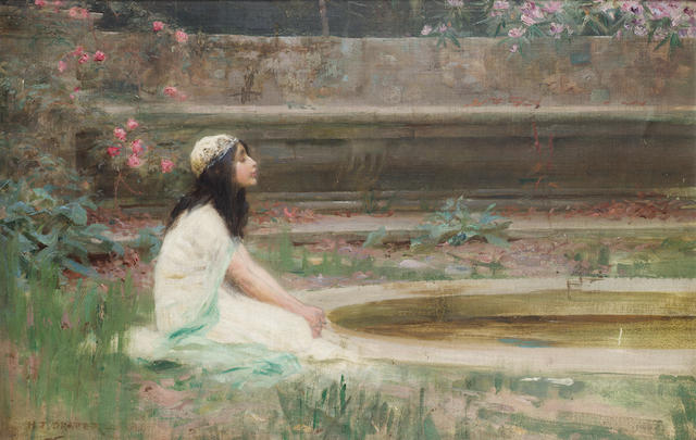 Herbert James Draper (British 1863-1920) A young girl by a pool 39.5 x 51 cm. (15 1/2 x 20 in.)