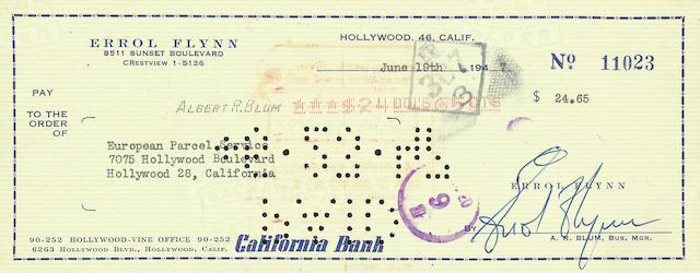 Errol Flynn Signed Cheque