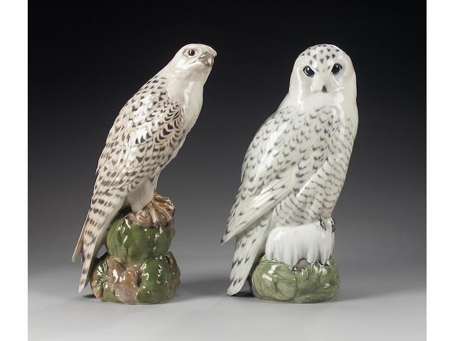 Two large Royal Copenhagen models of birds,