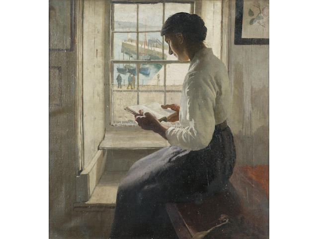 Harold Harvey (British 1874-1921) The New Book 50 x 47 cm. (19 3/4 x 18 1/2 in.)