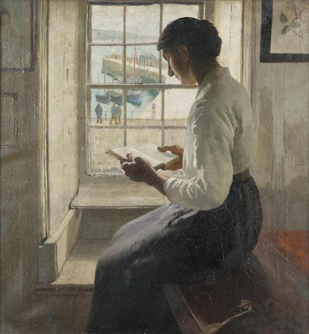 Harold Harvey (British 1874-1921) The New Book 50 x 47 cm. (19 3/4 x 18 1/2 in.)