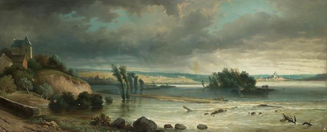 Ferdinand Joseph Bernard Marinus (Belgian 1808-1890) A flooded river 52 x 124.5 cm. (20 1/2 x 48 3/4 in.)