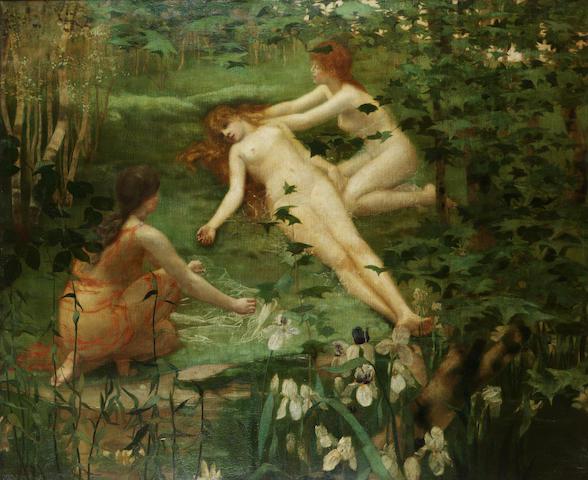 William Stott of Oldham (British 1857-1900) Diana, Twilight and Dawn 122 x 148 cm. (48 x 58 1/4 in.)