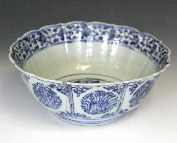 A blue and white lobed circular bowl Chinese 18th century