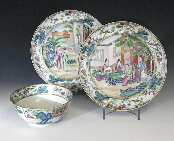 Two similar canton famille rose circular plates Chinese 19th century