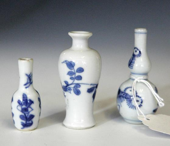 A miniature blue and white vase Chinese 18th century
