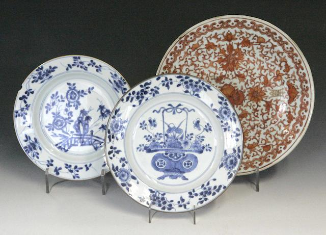 A blue and white circular dish Chinese 18th century