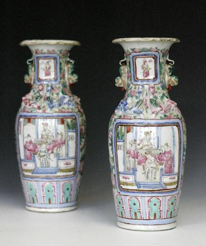 A pair of famille rose vases Chinese early 20th century