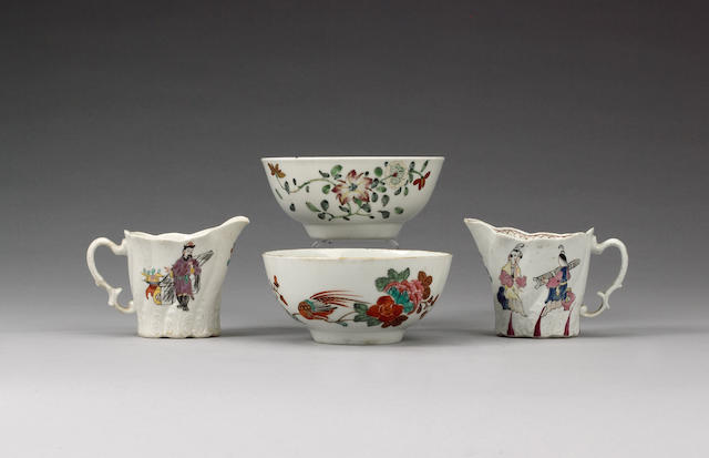 Two Chaffers small bowls and two Christian creamjugs circa 1760-65 and 1775