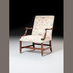 An early George III  mahogany 'Gainsborough' type Open Armchair