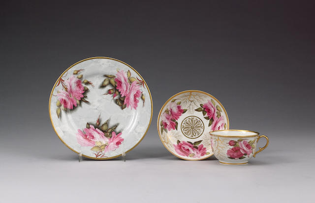 A rare Barr, Flight and Barr plate painted by William Billingsley circa 1808-13