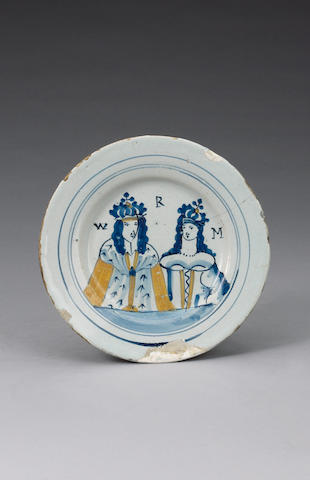 A London delft royal portrait plate circa 1691-92