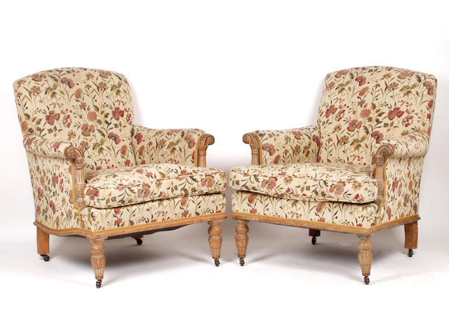 A pair of late 19th or early 20th century easy chairs
