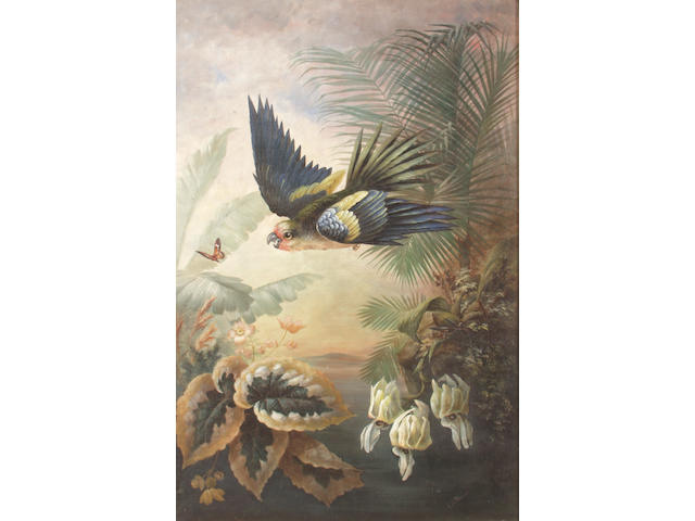 C. B. Brough Study of a parrot amidst tropical shrubs, 75 x 50cm on canvas, glazed See illustration