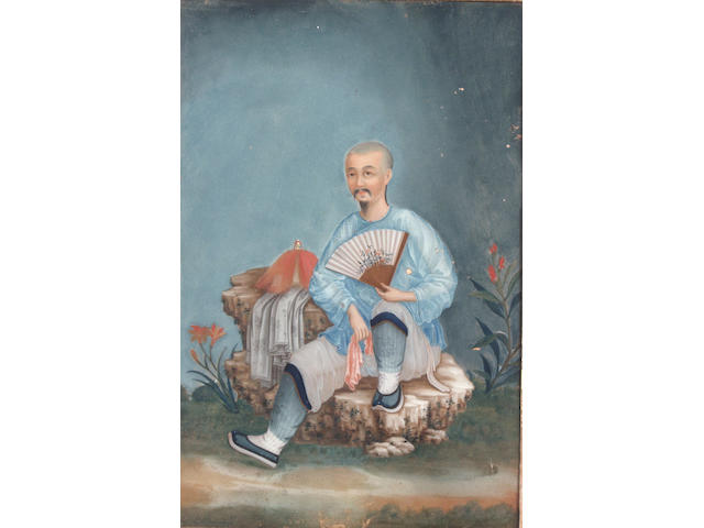 A late 18th or early 19th century Chinese School study of a seated Chinese gentleman, en gouache, reverse painted on glass, 44 x 29cm See illustration and colour illustration inside cover