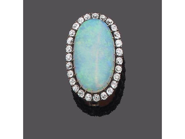 A late 19th century opal and diamond brooch,