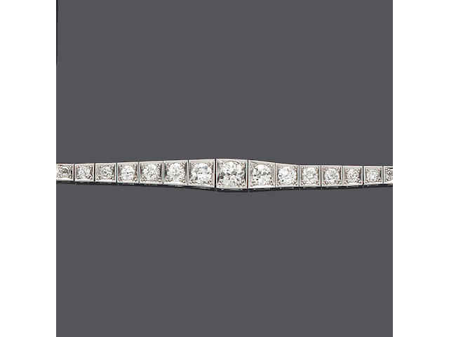 An early 20th century diamond line bracelet,