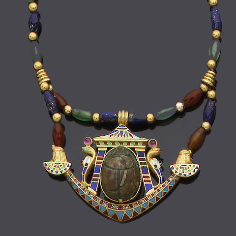 An Egyptian Revival gem-set and enamel necklace,