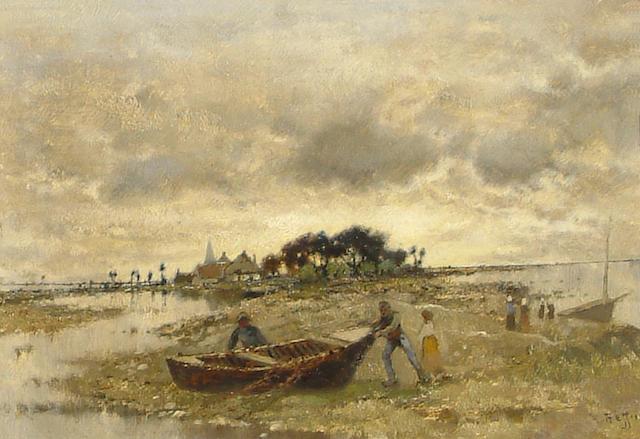 Karl Heffner (German, 1849-1925) Fisher folk near Stralsund.
