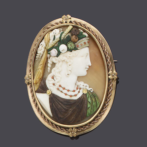 A late 19th century shell and hardstone cameo habillé,