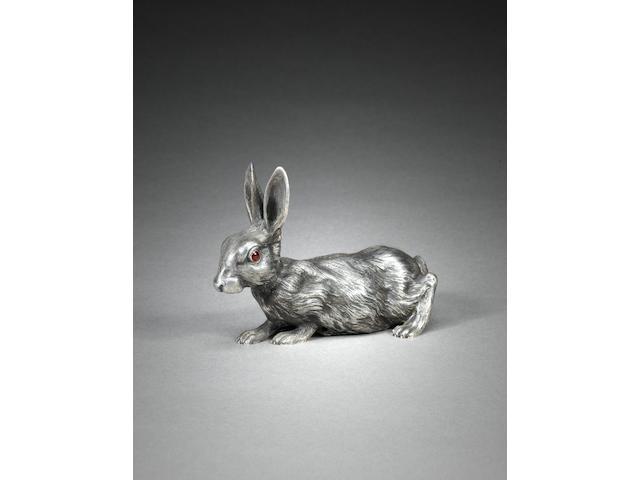 A Fabergé gem-set silver bell-push in the form of a rabbit, Moscow, 1896-1908 length: 15 cm. (6 in.)