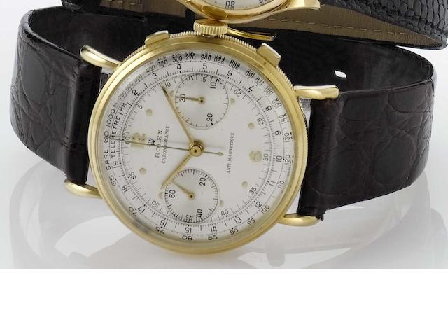 Rolex. A fine and rare 18ct gold oversized chronograph wristwatch  'Coin-Edge' Ref:4062, Case No.845132, 1950s