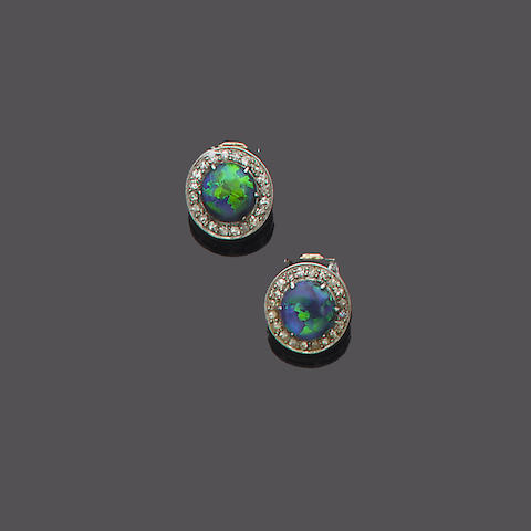 A pair of early 20th century opal and diamond earclips,