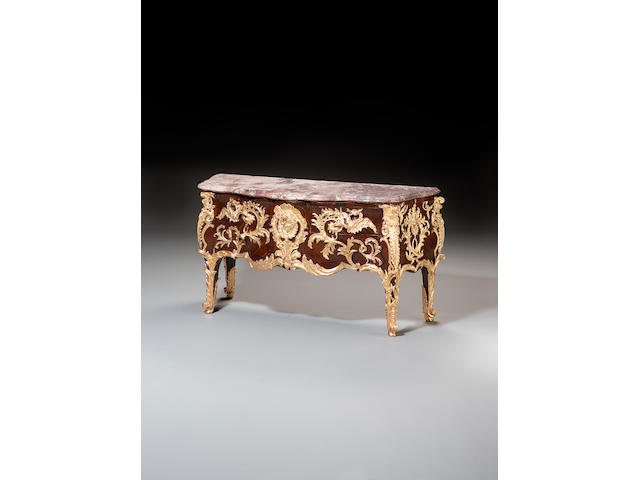 A mid 19th century French kingwood parquetry and gilt bronze mounted Commode after the model by Gaudreaus