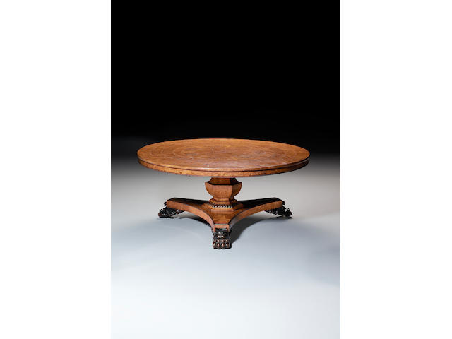 A Regency burr and pollard oak circular breakfast table