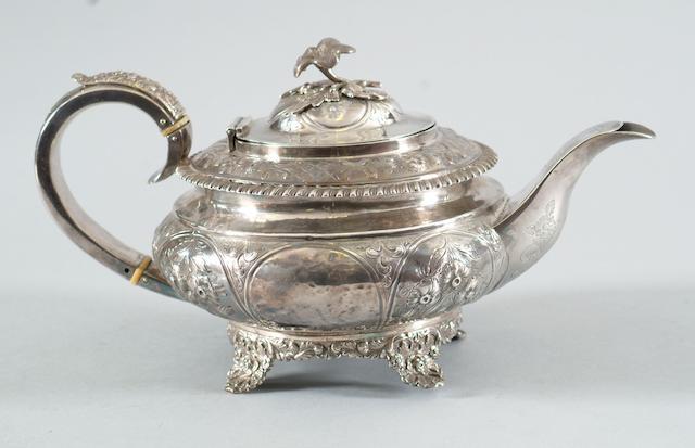 A George IV teapot Maker W.H., 1826,