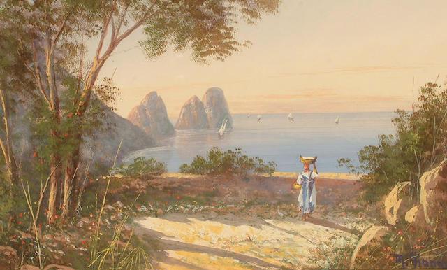M** Gianni (Italian, 20th Century) Capri. 30.5 x 48cm (12 x 18 7/8in), together with a companion (2).