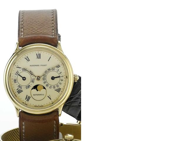 Audemars Piguet. An 18ct gold automatic wristwatch with triple calendar Case numbered C49310, circa 1980's